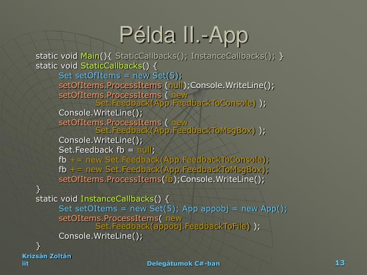 Példa II.-App