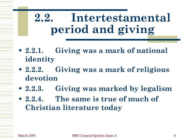 2.2.	Intertestamental period and giving