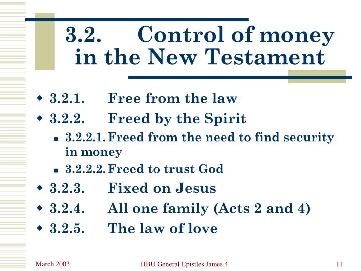 3.2.	Control of money in the New Testament