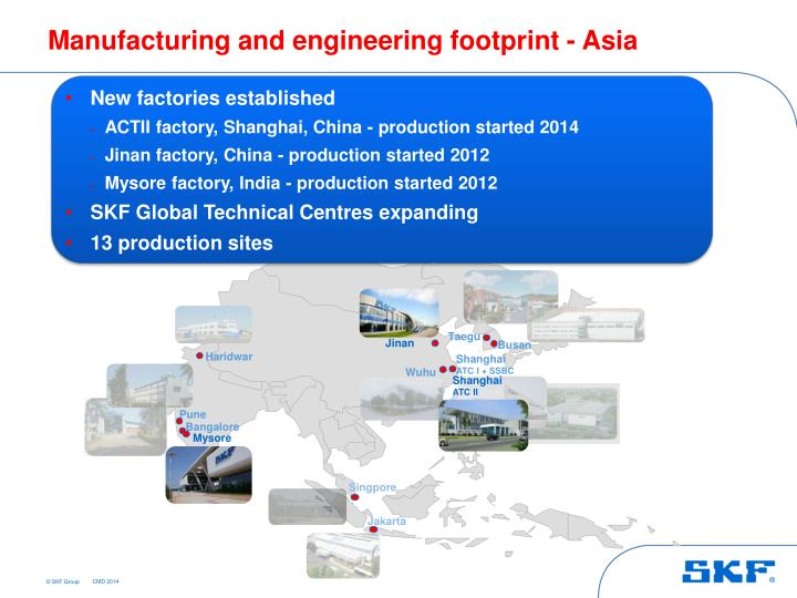 Manufacturing and engineering footprint - Asia