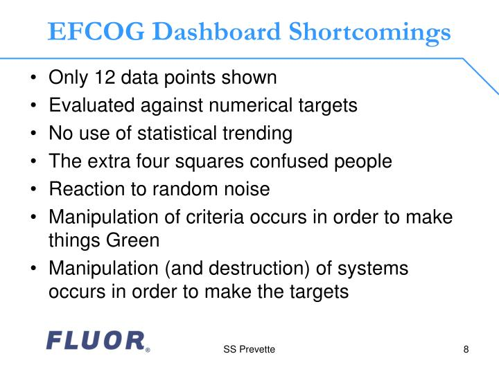 EFCOG Dashboard Shortcomings