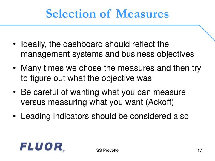Selection of Measures