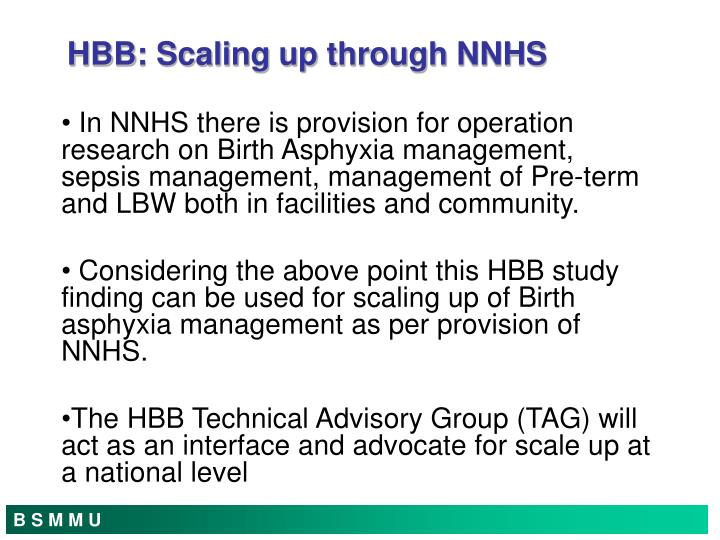 HBB: Scaling up through NNHS