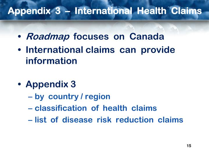 Appendix  3  –  International  Health  Claims