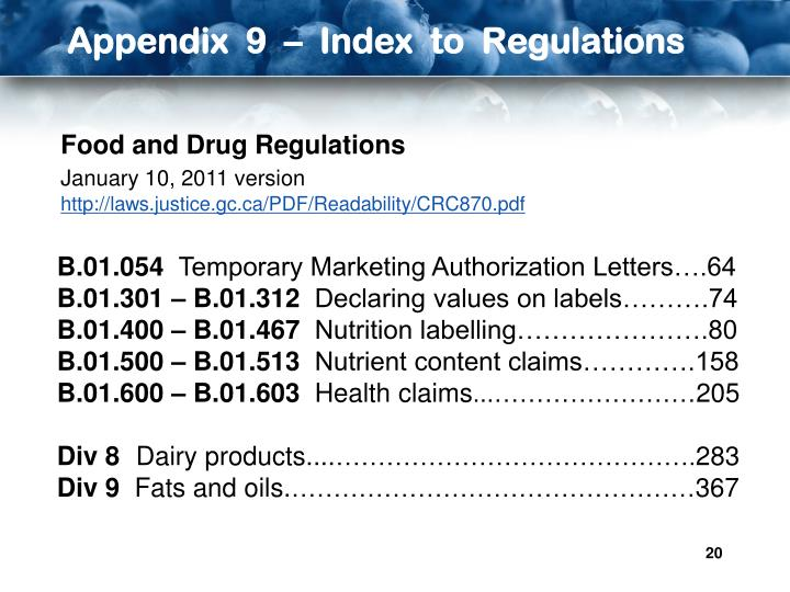 Appendix  9  –  Index  to  Regulations