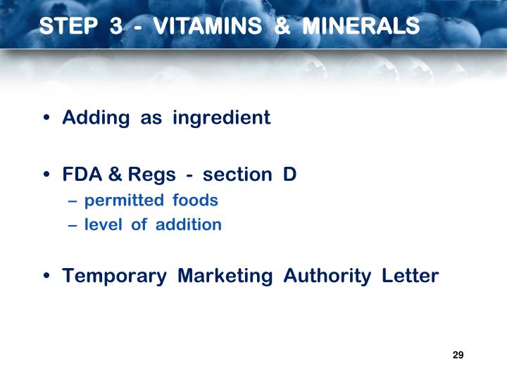 STEP  3  -  VITAMINS  &  MINERALS