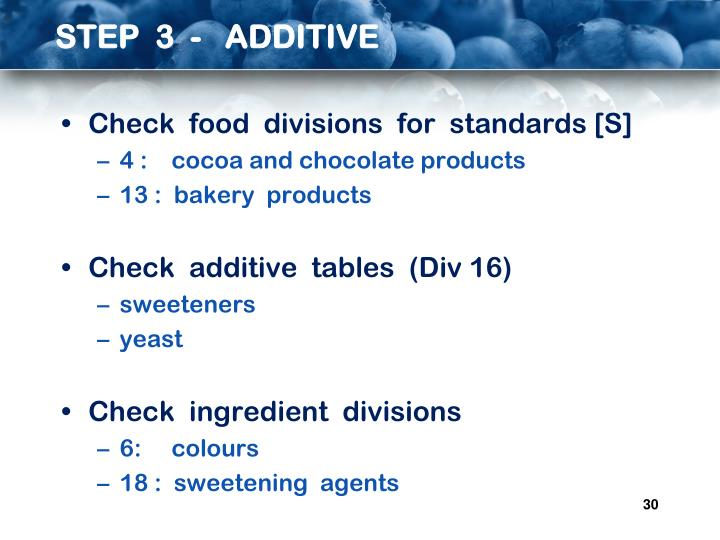 STEP  3  -   ADDITIVE