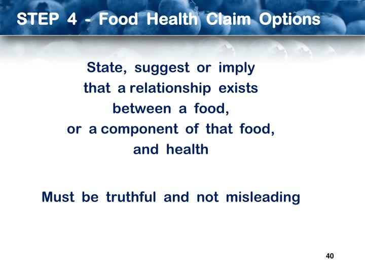 STEP  4  -  Food  Health  Claim  Options