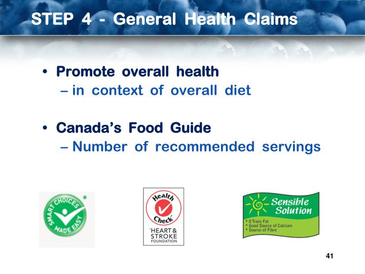 STEP  4  -  General  Health  Claims