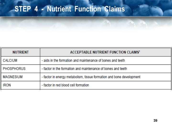 STEP  4  -  Nutrient  Function  Claims