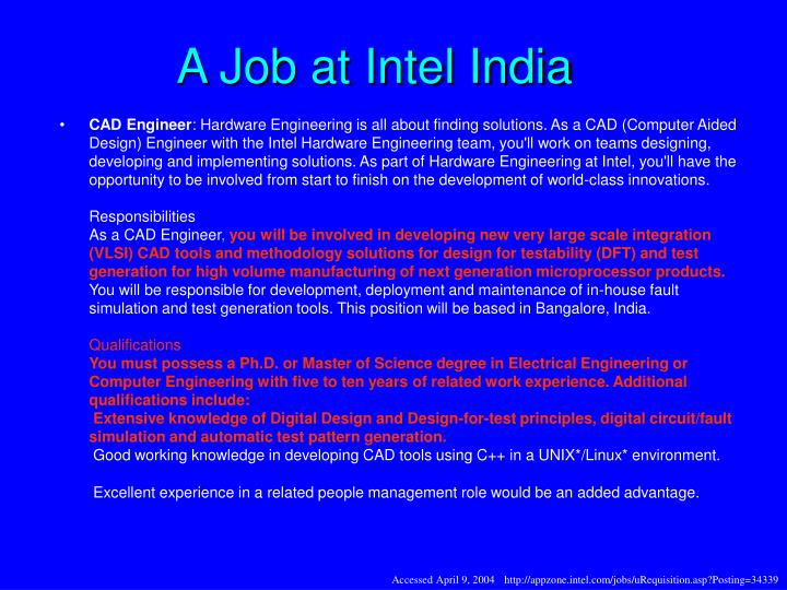 A Job at Intel India