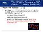 va s id waiver response to pcp elements of the final rule cont d1
