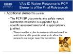 va s id waiver response to pcp elements of the final rule cont d2