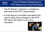 va s id waiver response to pcp elements of the final rule