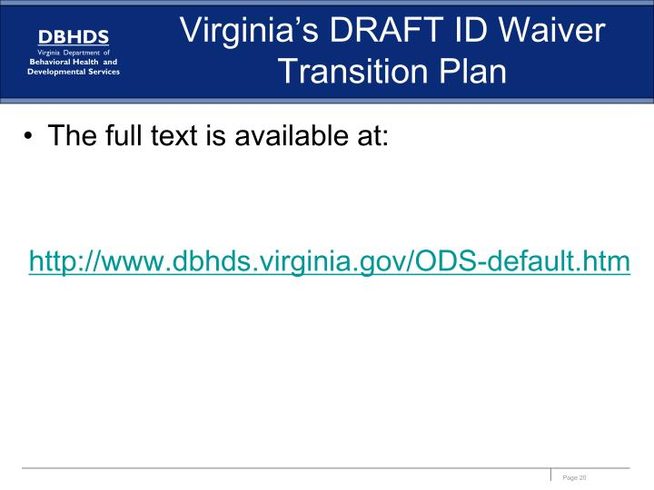 Virginia's DRAFT ID Waiver Transition Plan