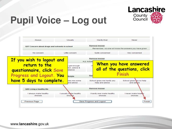 Pupil Voice – Log out