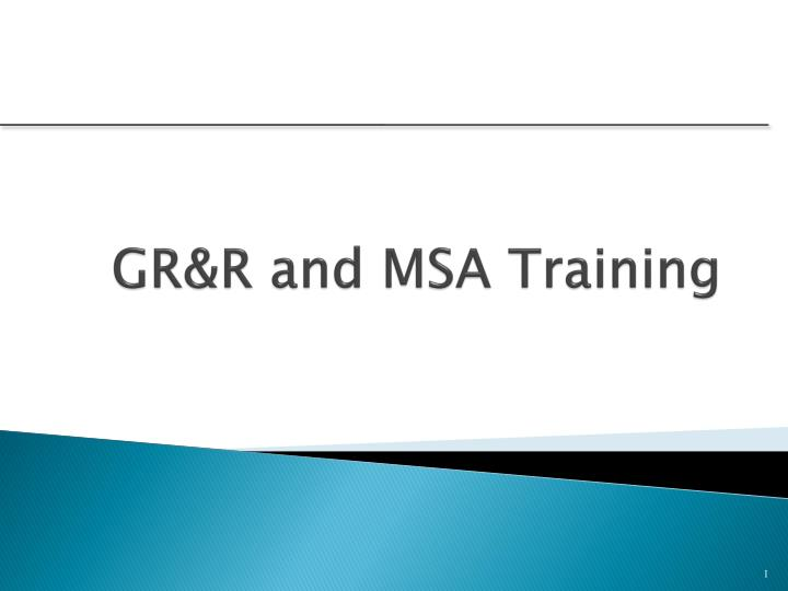 Gr r and msa training