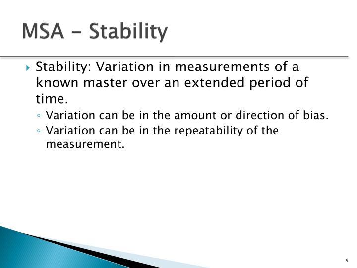 MSA - Stability