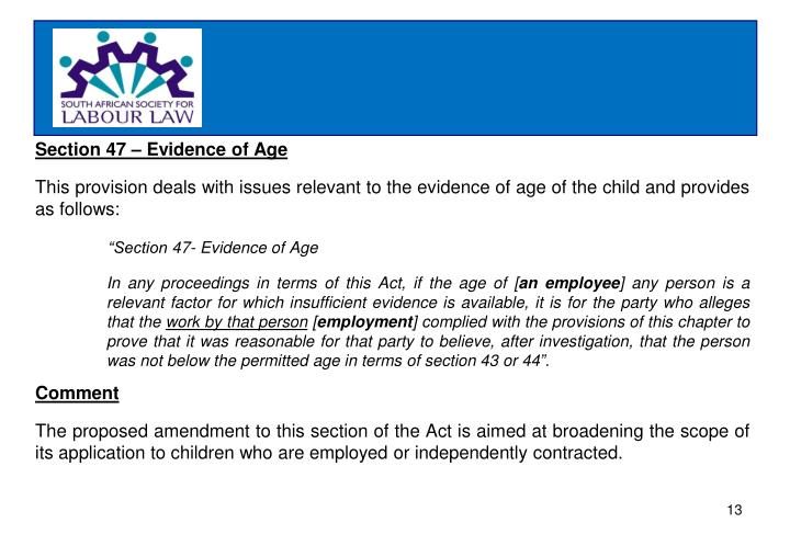 Section 47 – Evidence of Age