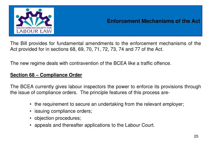 Enforcement Mechanisms of the Act
