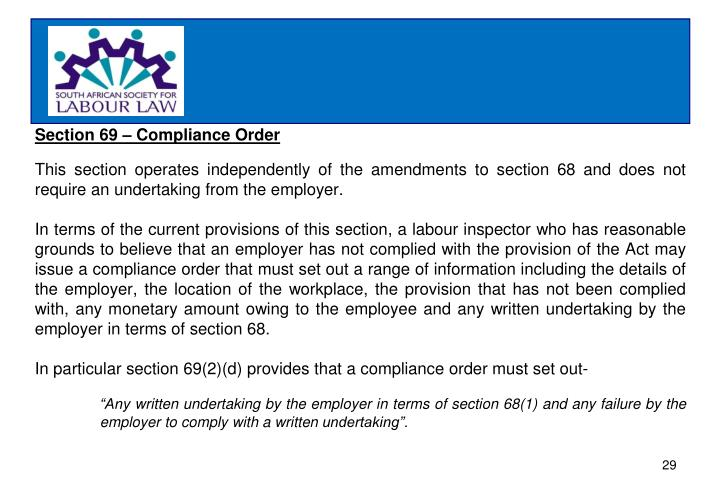 Section 69 – Compliance Order