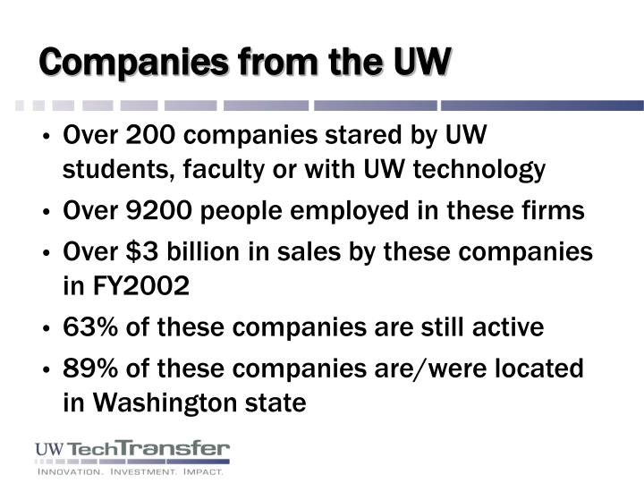 Companies from the UW