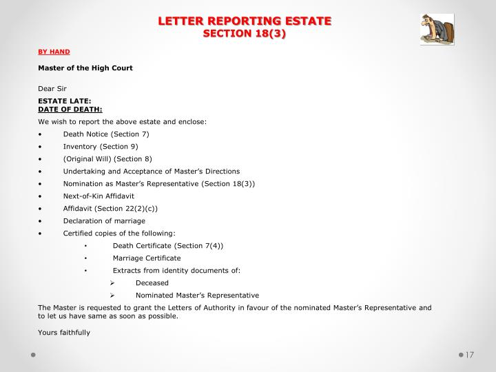 LETTER REPORTING ESTATE