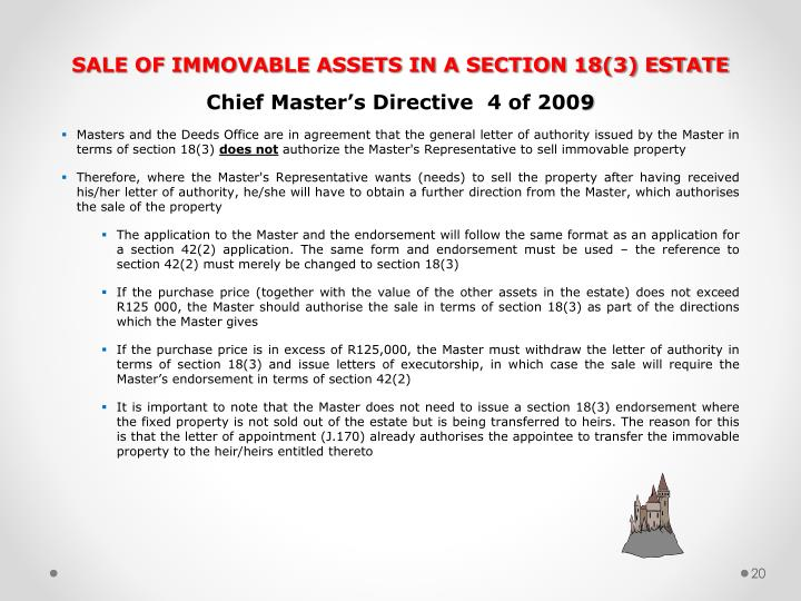 SALE OF IMMOVABLE ASSETS IN A SECTION 18(3) ESTATE