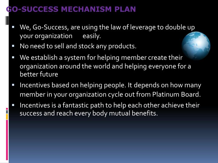 GO-SUCCESS MECHANISM PLAN