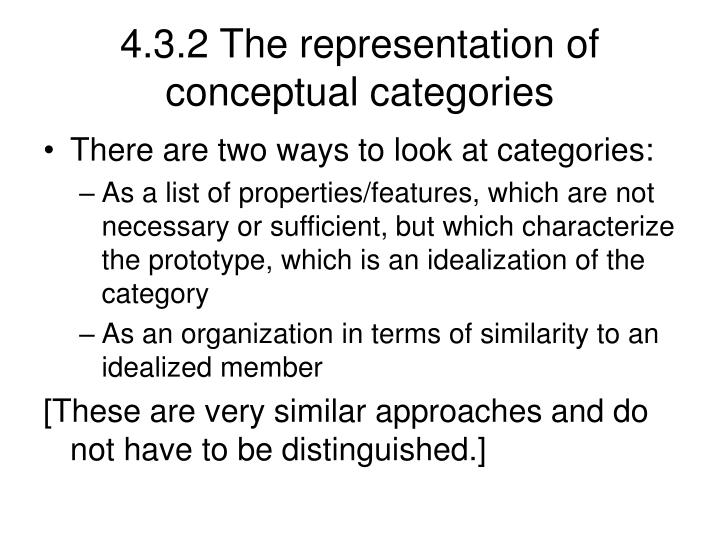 4.3.2 The representation of conceptual categories