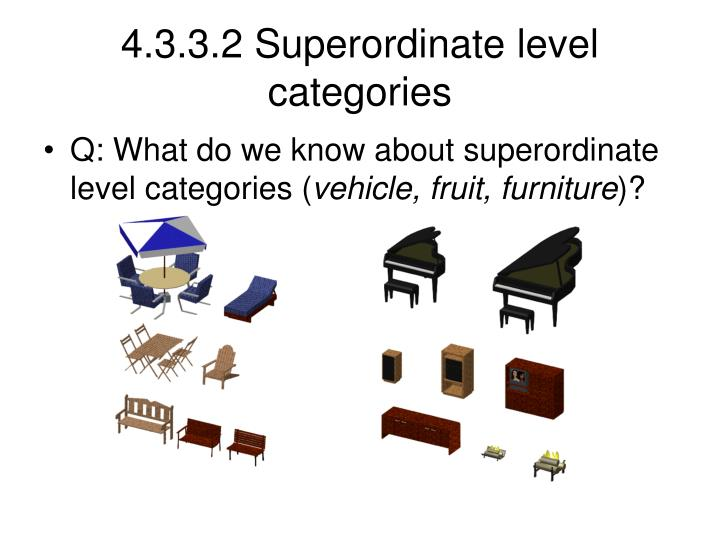 4.3.3.2 Superordinate level categories