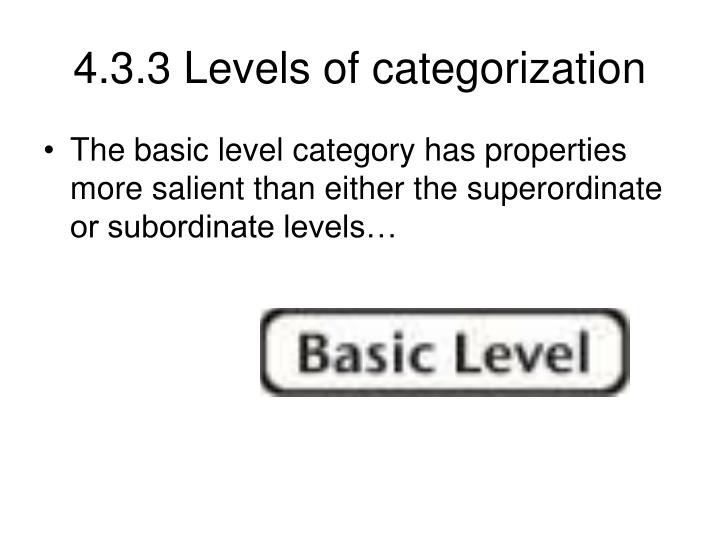 4.3.3 Levels of categorization