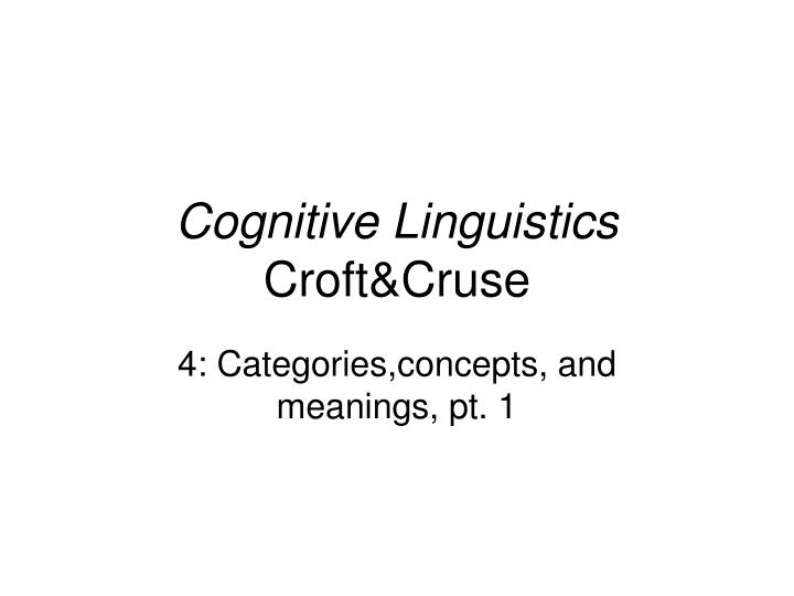 Cognitive linguistics croft cruse