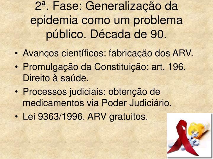 2ª. Fase: Generalização da epidemia como um problema público. Década de 90.