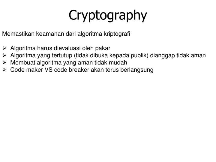 Memastikan keamanan dari algoritma kriptografi