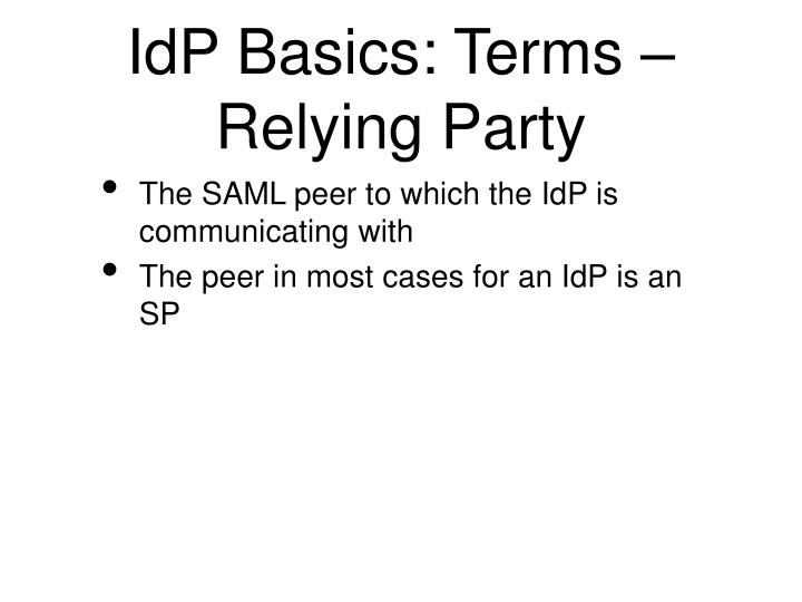 IdP Basics: Terms – Relying Party