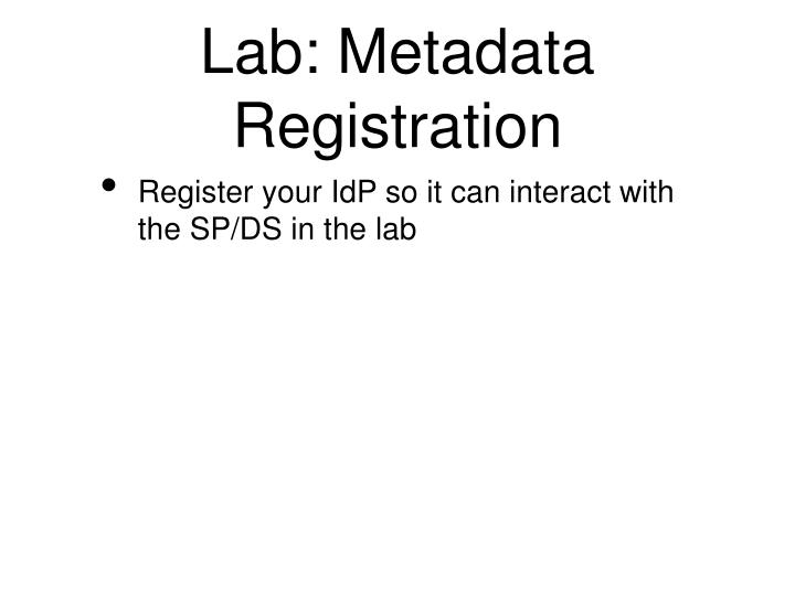 Lab: Metadata Registration