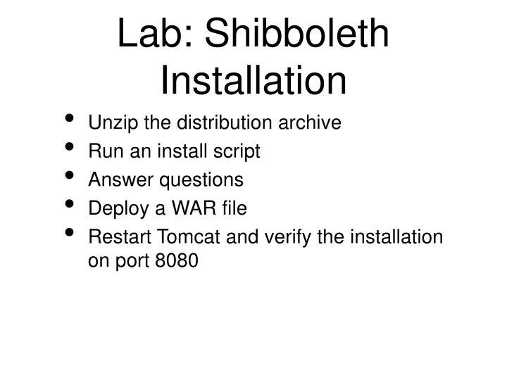 Lab: Shibboleth Installation