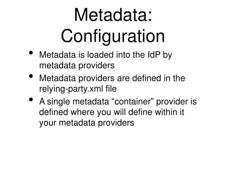 Metadata: Configuration
