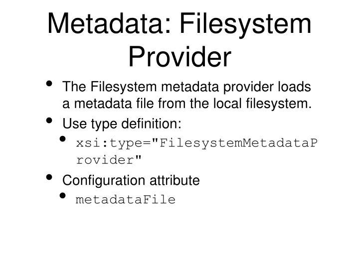 Metadata: Filesystem Provider