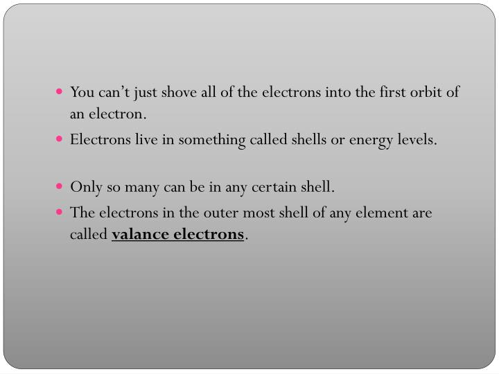 You can't just shove all of the electrons into the first orbit of an electron.