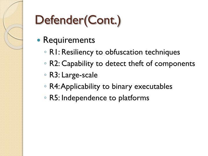 Defender(Cont.)