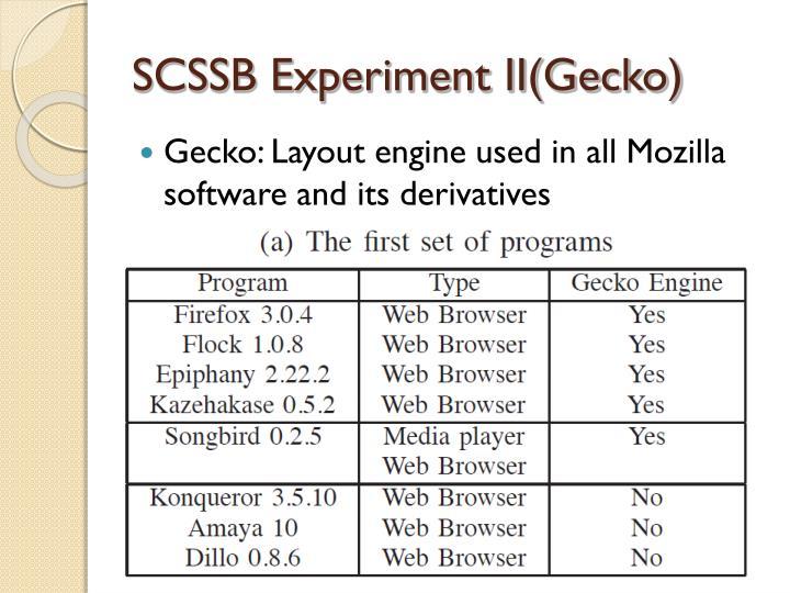 SCSSB Experiment II(Gecko)