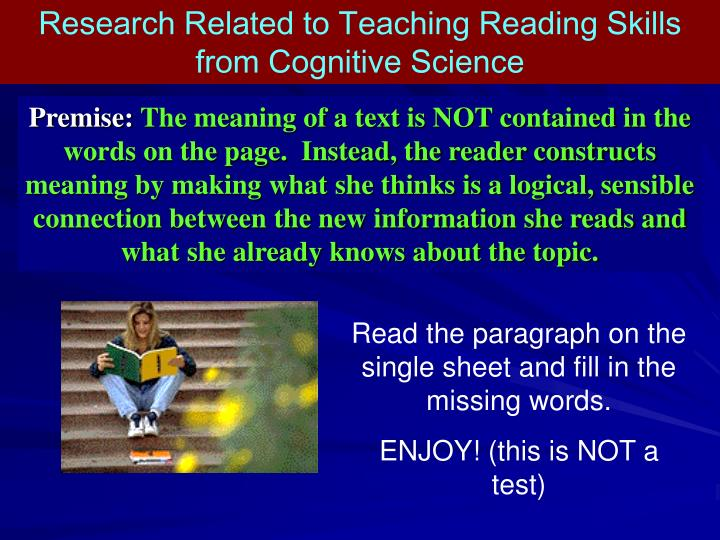 Research Related to Teaching Reading Skills from Cognitive Science