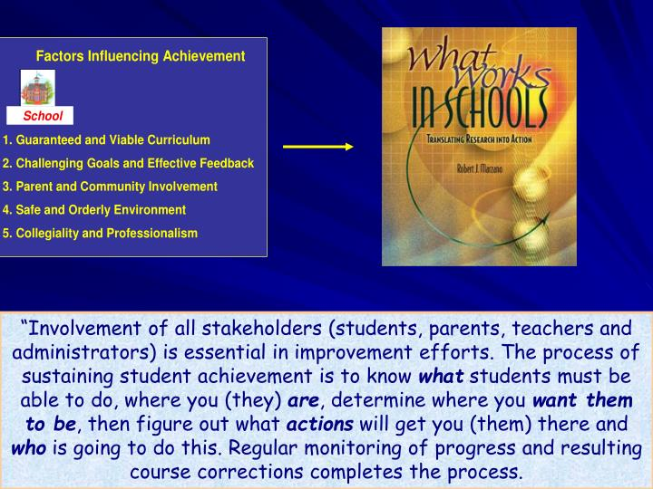 """Involvement of all stakeholders (students, parents, teachers and administrators) is essential in improvement efforts. The process of sustaining student achievement is to know"