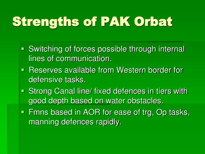 Strengths of PAK Orbat