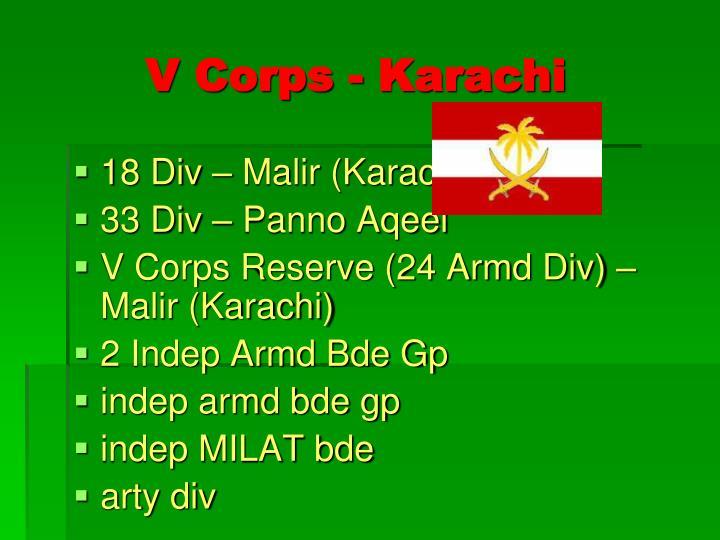 V Corps - Karachi