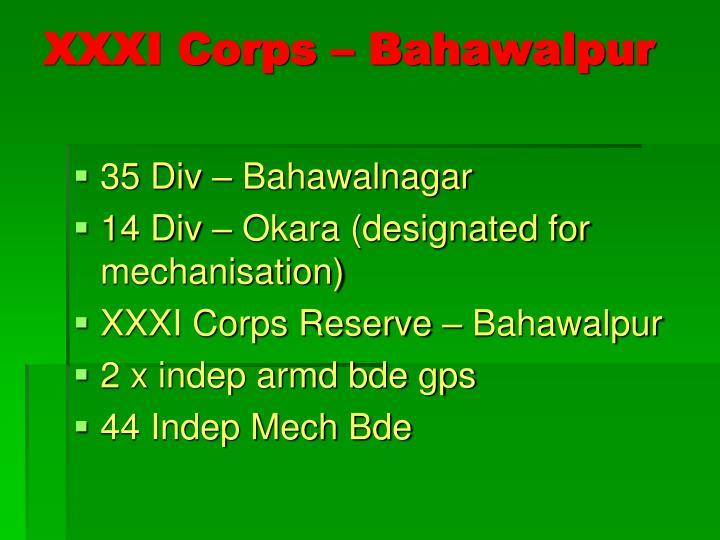XXXI Corps – Bahawalpur