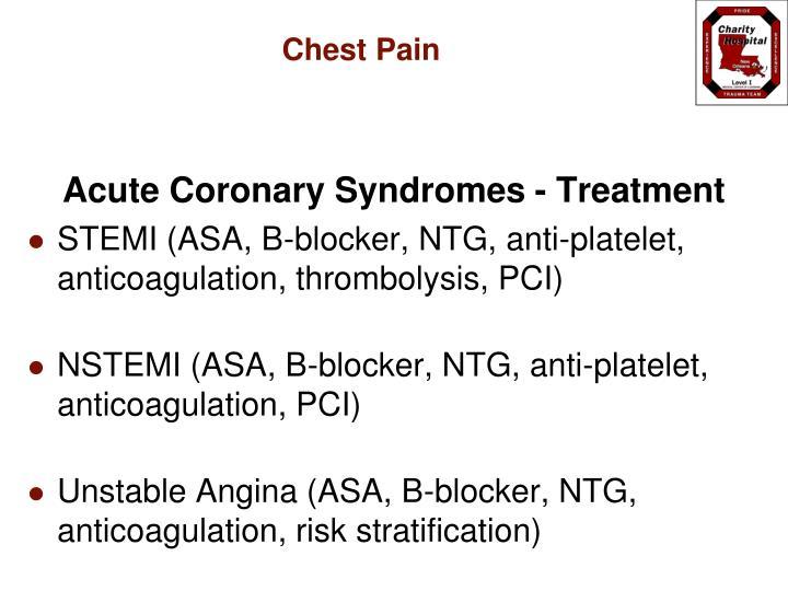 Acute Coronary Syndromes - Treatment