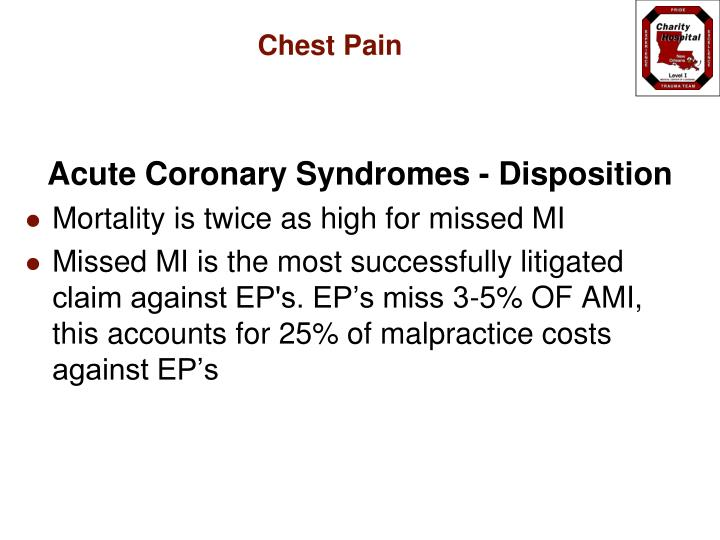 Acute Coronary Syndromes - Disposition